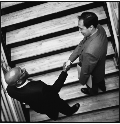 Business Men in a Stairwell